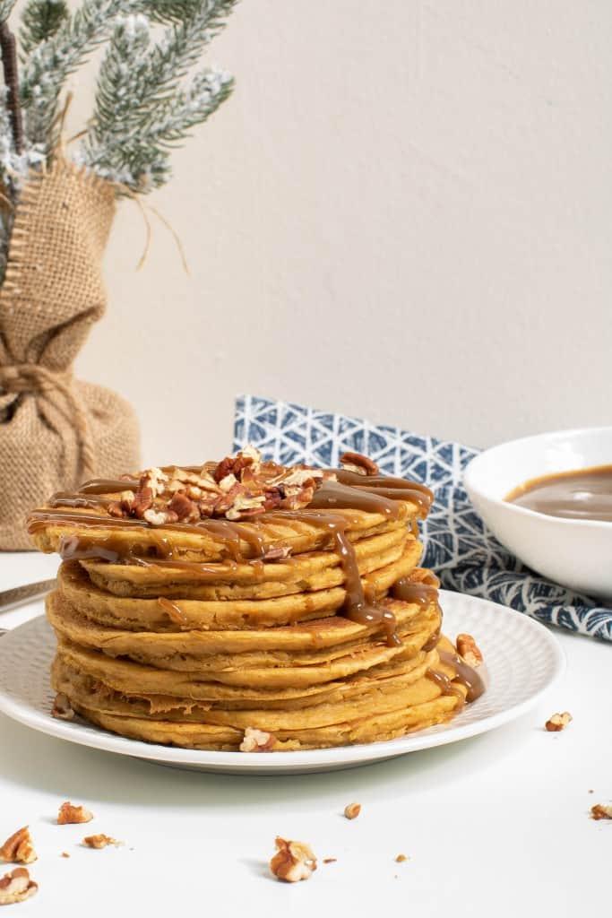 Sweet Potato SunButter Pancakes + Salted SunButter Caramel