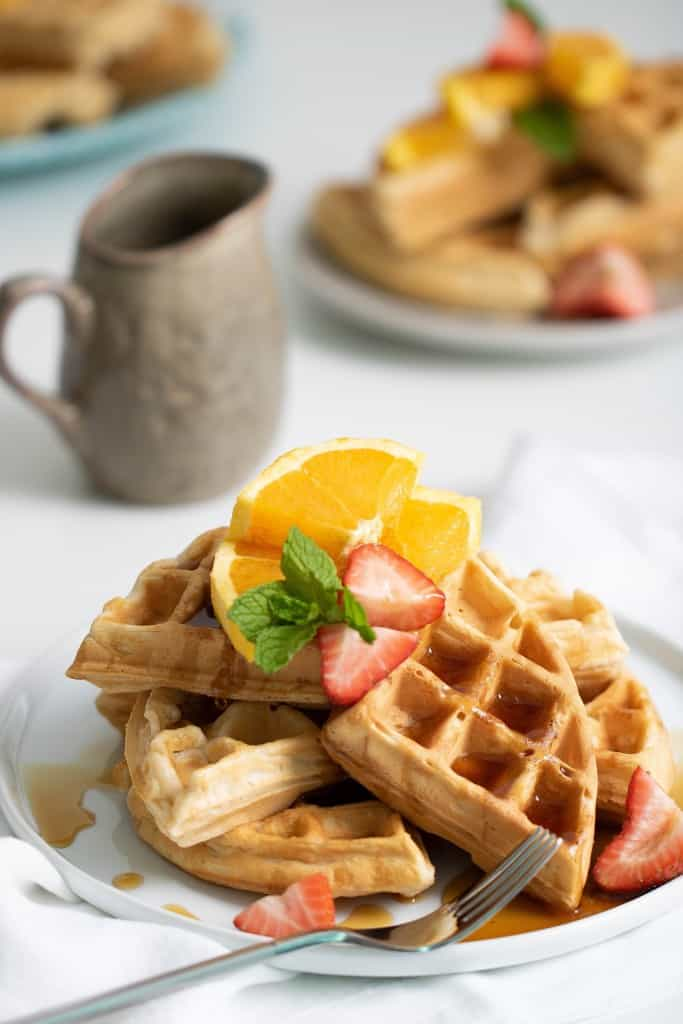 The Best Vegan Orange Belgian Waffles