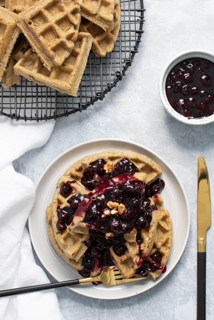 Fluffy Gluten-Free + Vegan Buckwheat Waffles + Blueberry