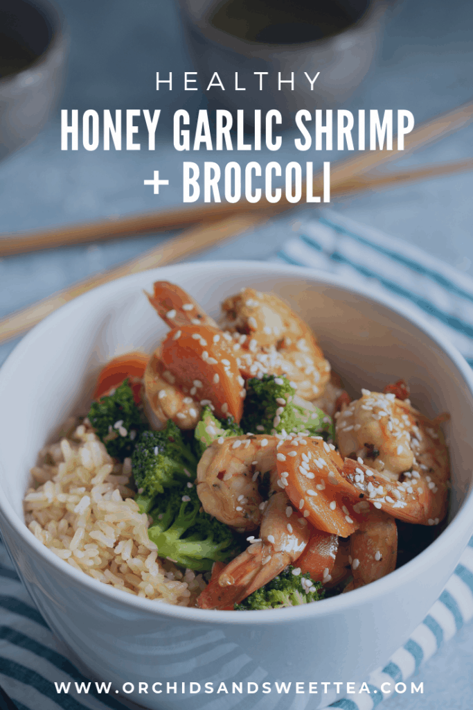 Healthy Honey Garlic Shrimp + Broccoli
