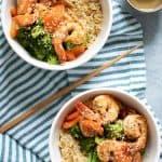 Healthy Honey Garlic Shrimp + Broccoli