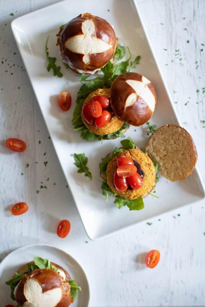 Easy Cauliflower Sweet Potato Sliders + Aioli