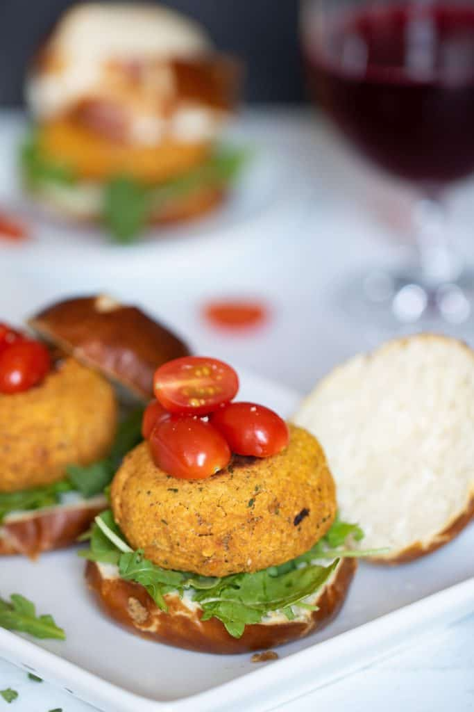 Easy Chickpea Sweet Potato Sliders + Aioli