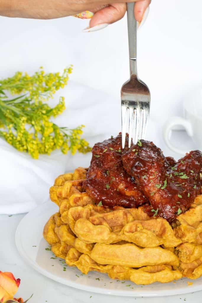 Air Fryer Chicken Wings + Sweet Potato Waffles