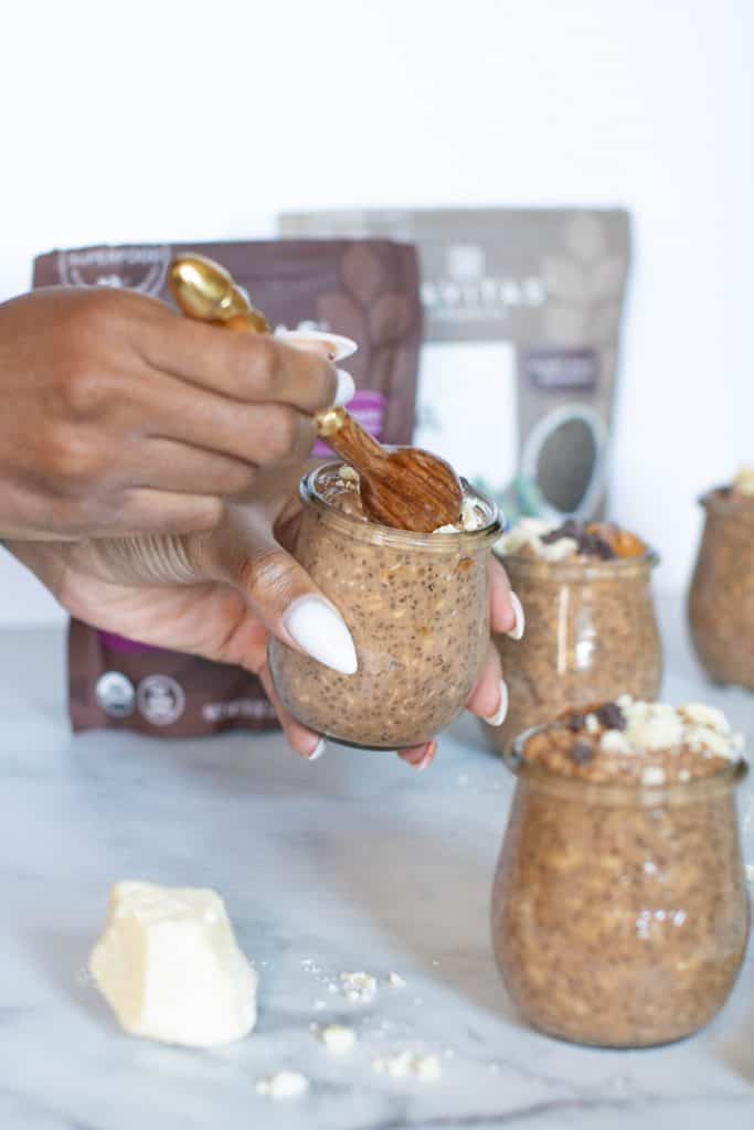Superfood Overnight Oats: Maca, Cacao, + Chia Seeds