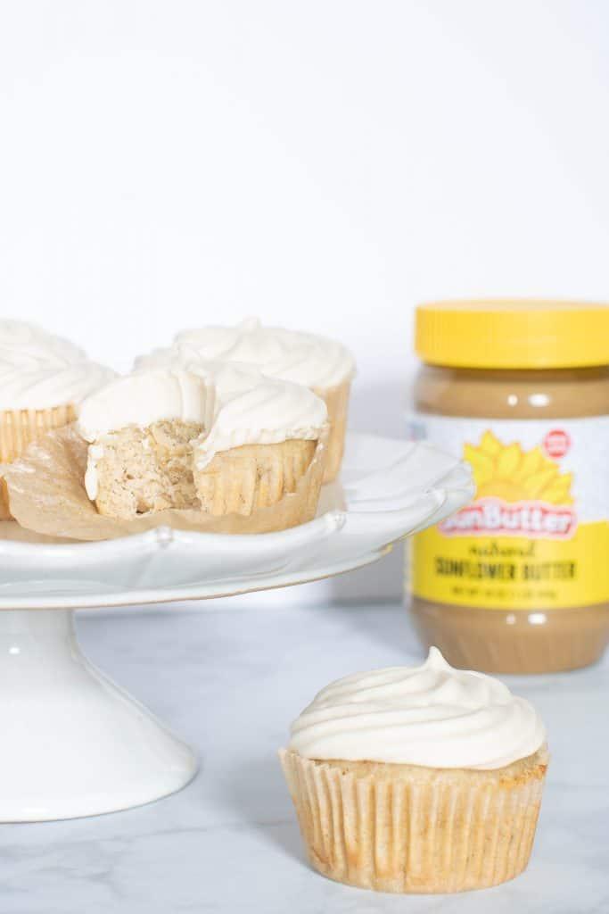 Vegan Banana Bread Cupcakes + SunButter Frosting