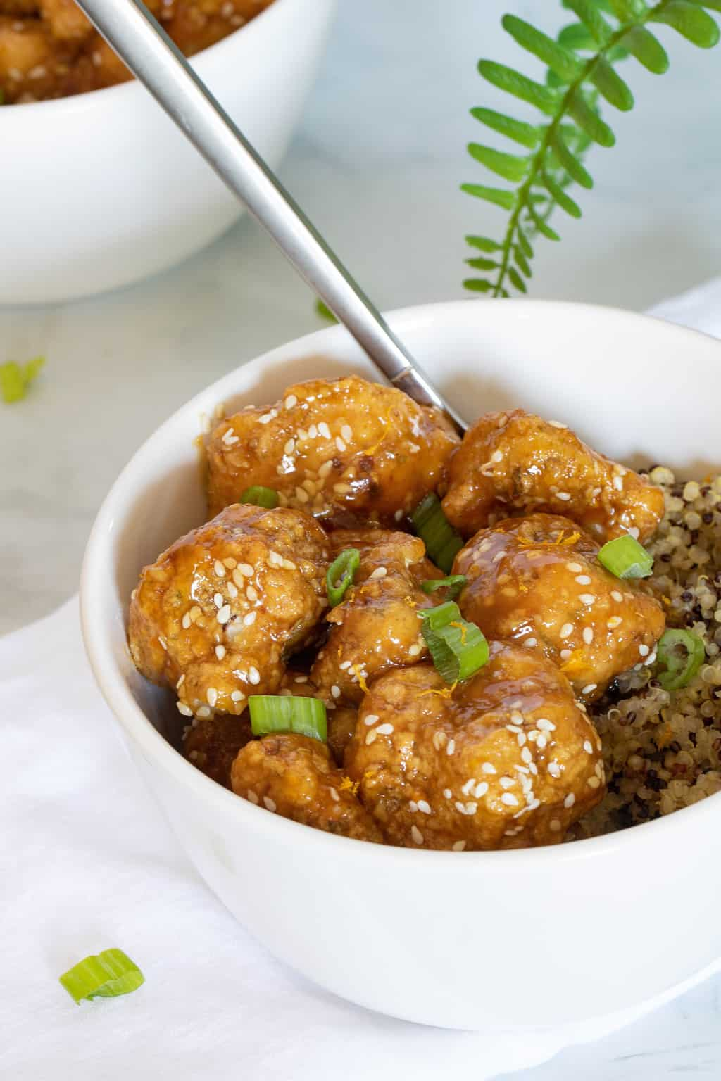 Baked Sticky Orange Cauliflower + Quinoa