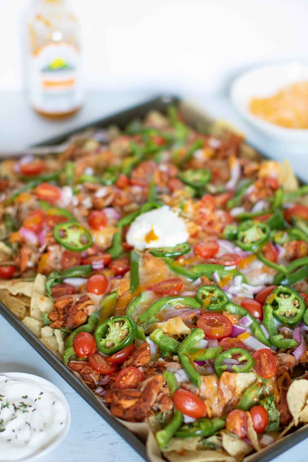 Sheet Pan Buffalo Chicken Nachos