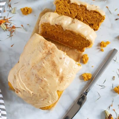 Vegan Pumpkin Bread + Maple Frosting
