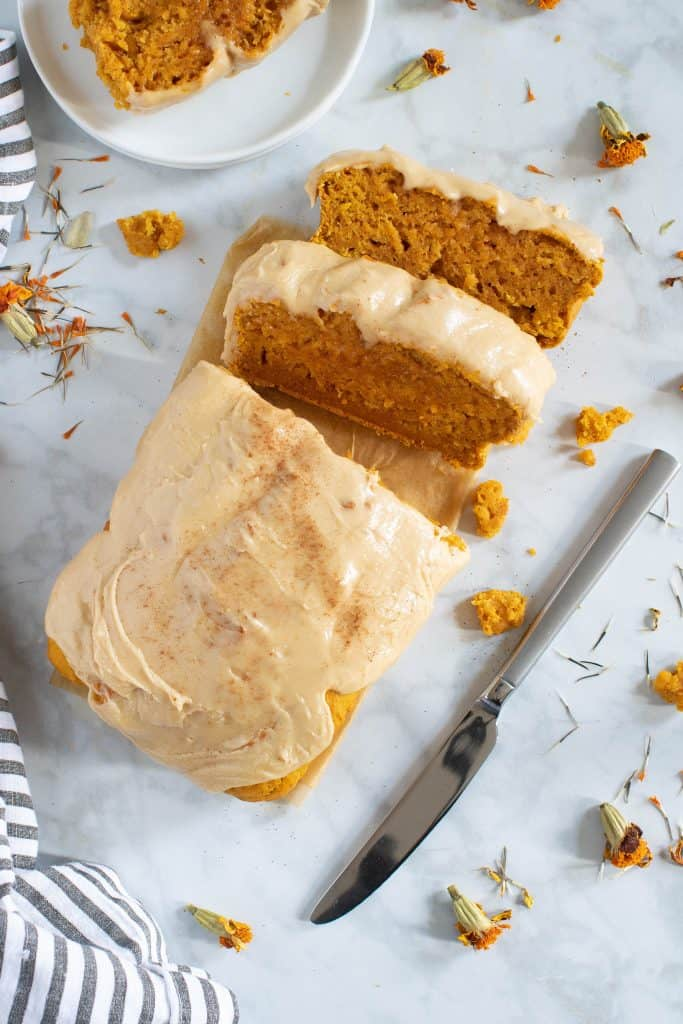 Vegan Pumpkin Bread + Maple Frosting