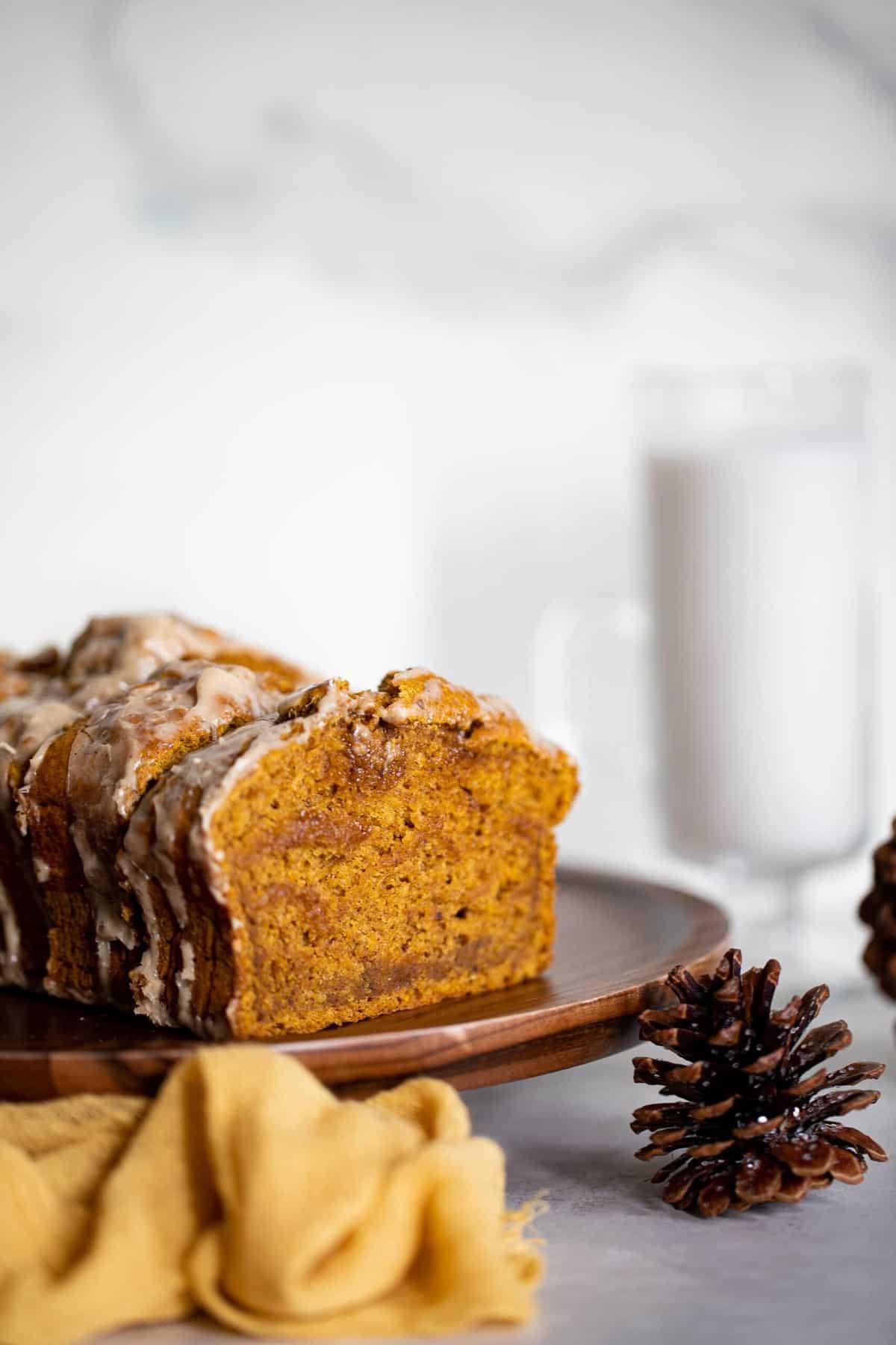 Vegan Pumpkin Bread + Maple Chai Frosting