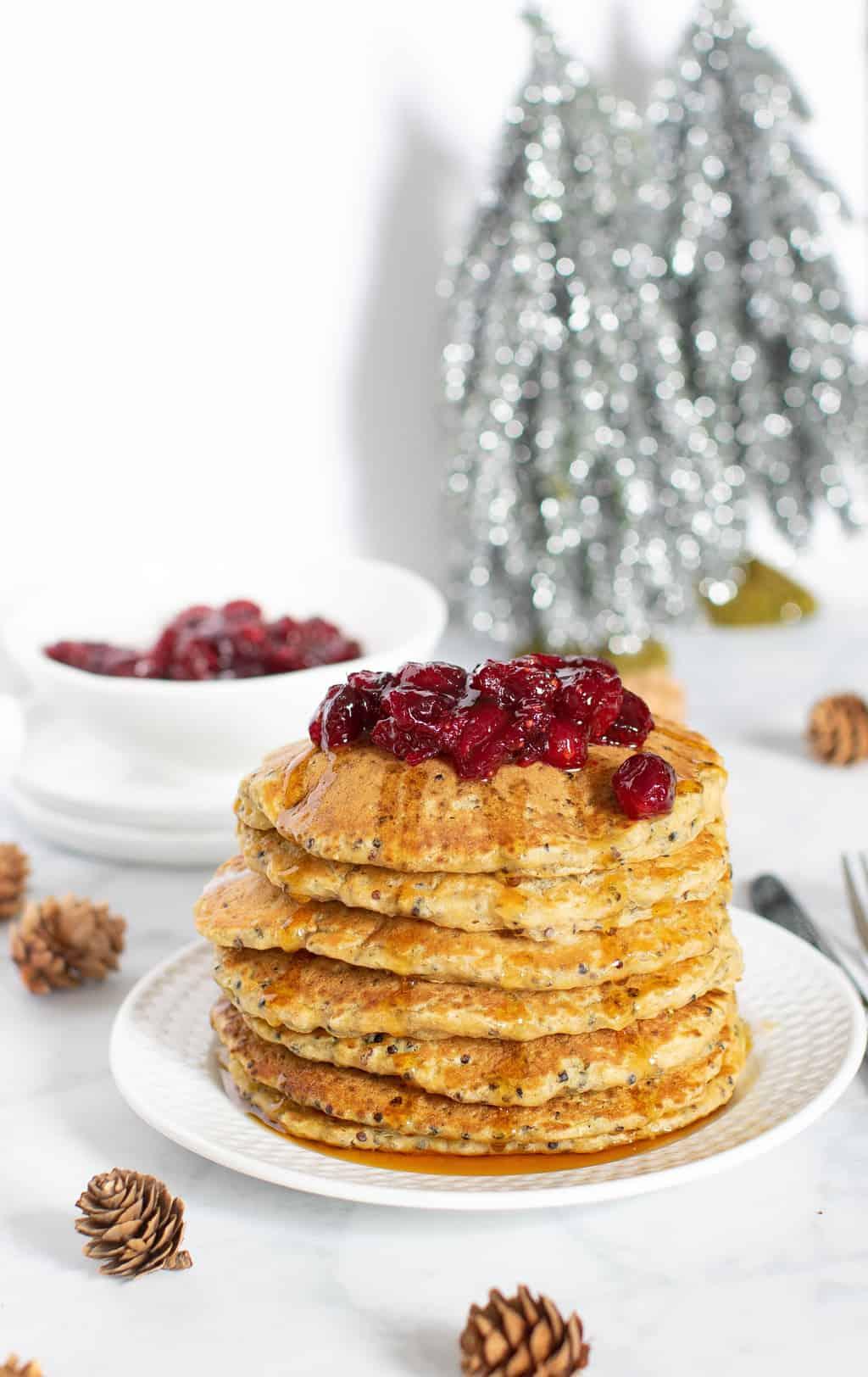 Fluffy Vegan Quinoa Pancakes + Cranberry