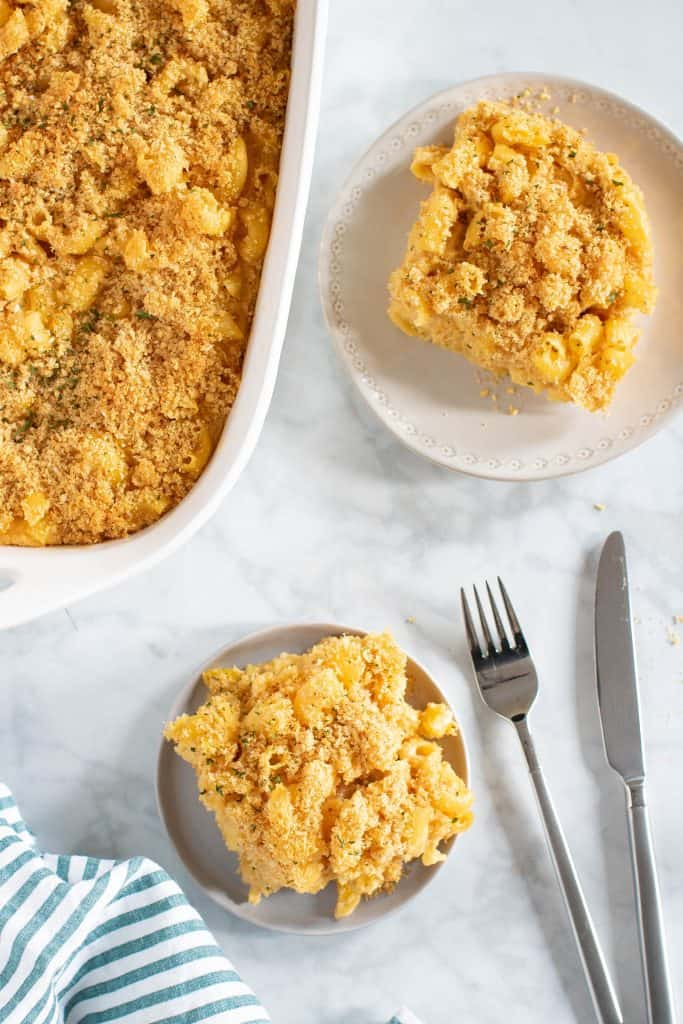 Baked Vegan Buffalo Mac + Cheese
