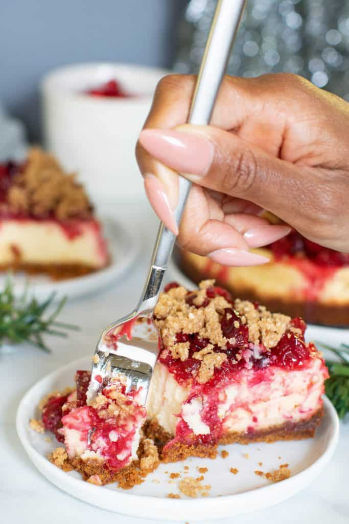 Cranberry Cheesecake + Gingersnap Crust