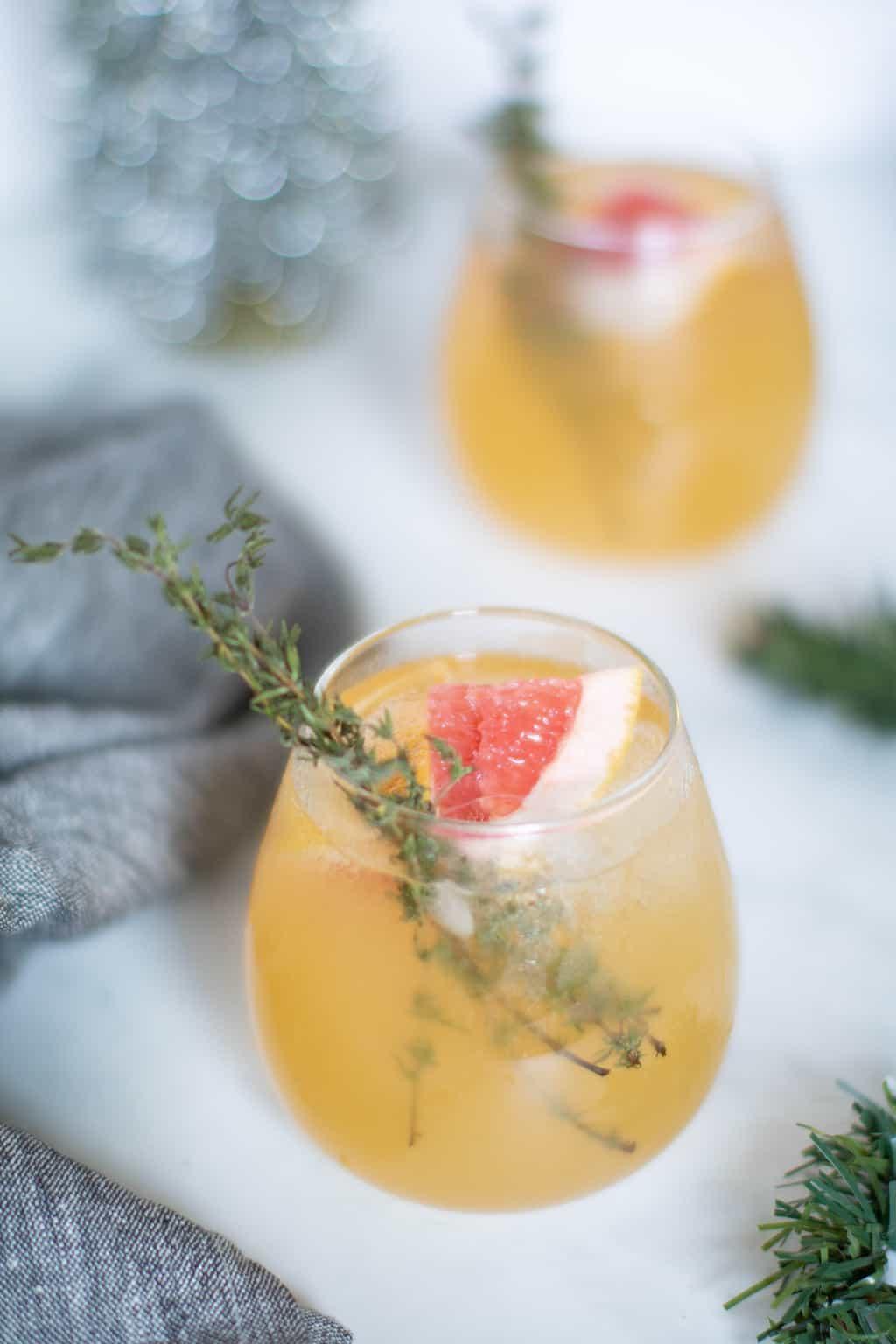 Honey Grapefruit Pineapple Thyme Mocktail