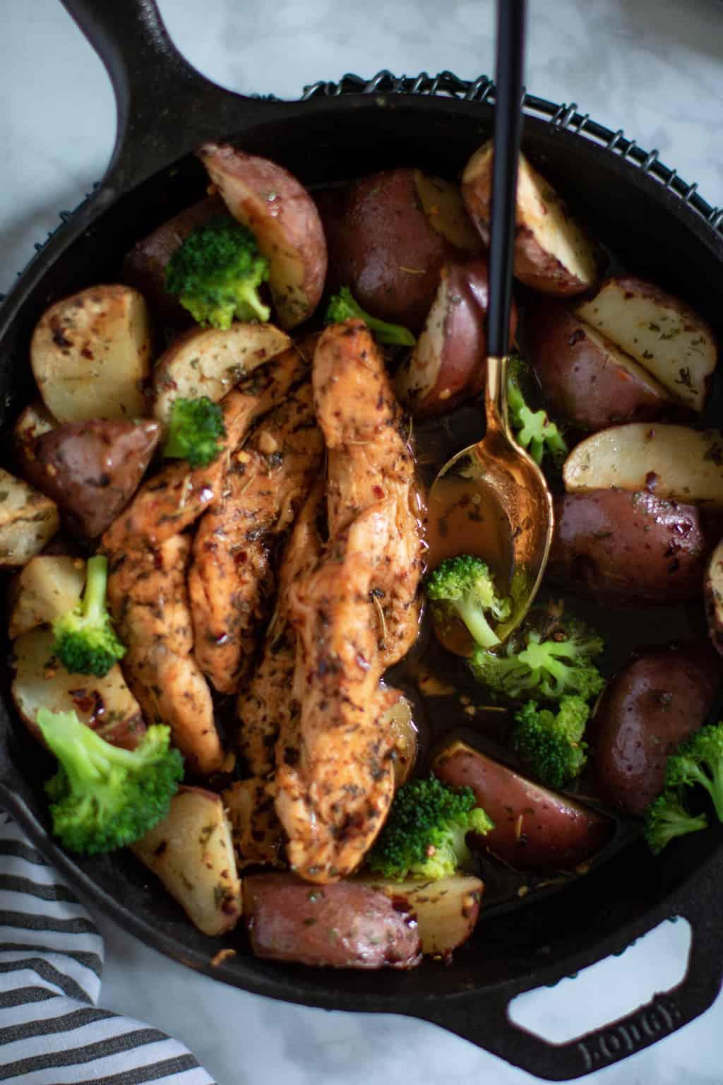 Skillet Maple Rosemary Chicken + Potatoes