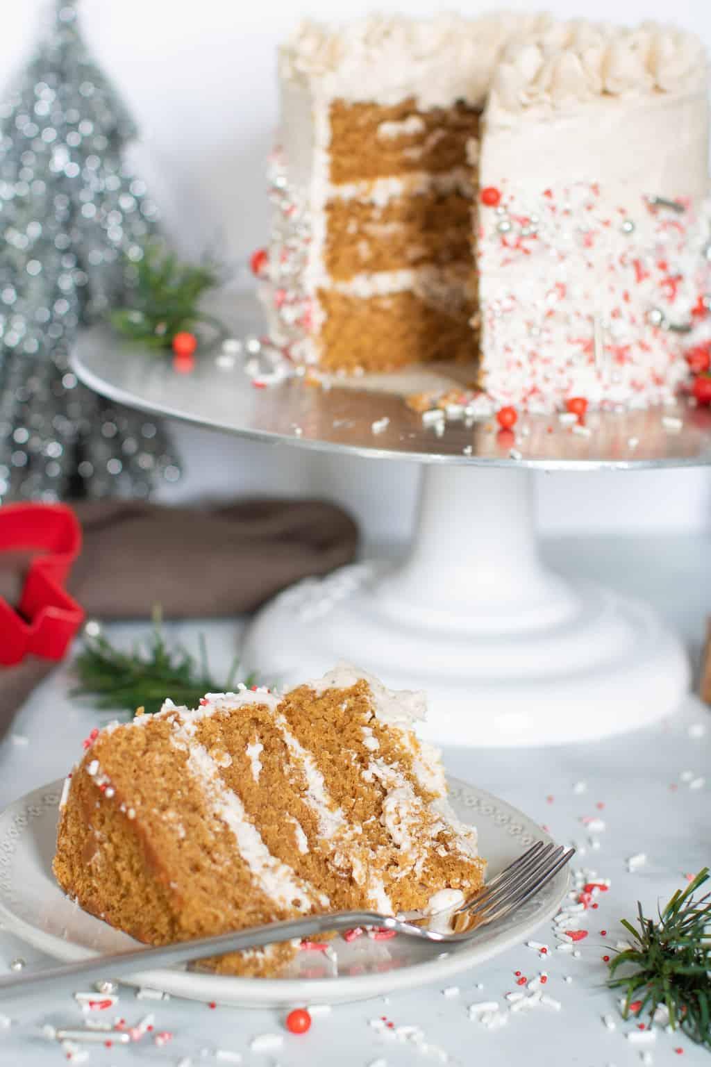 Vegan Gingerbread Cake + Chai Buttercream