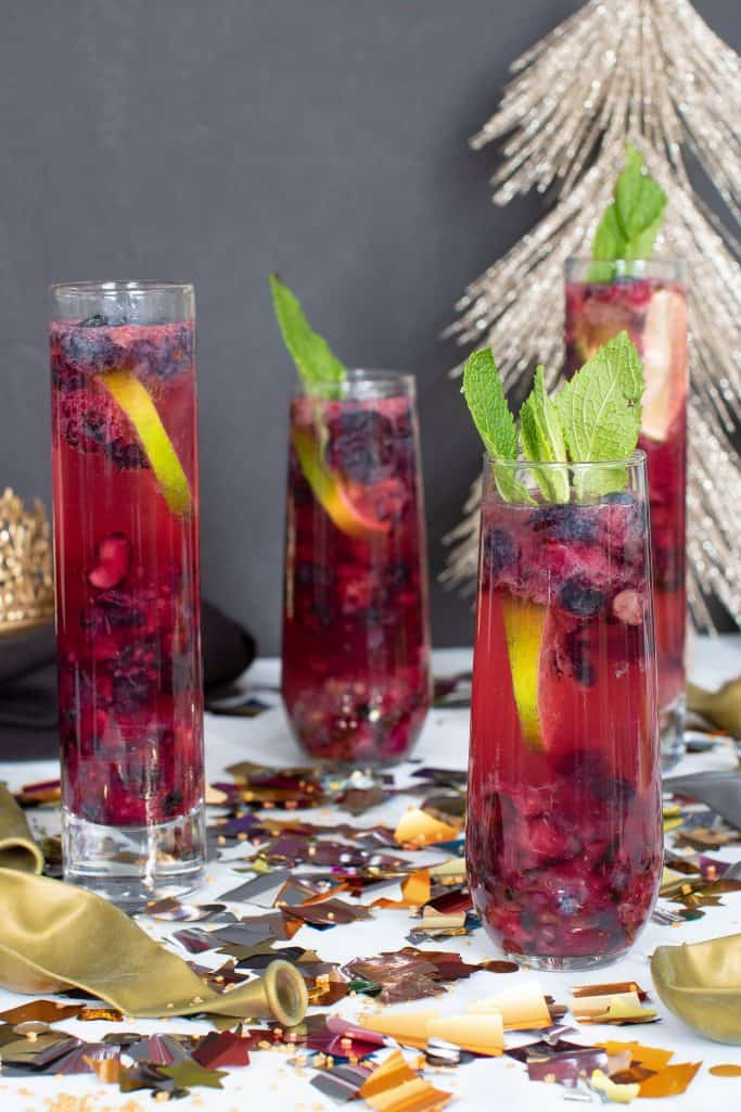 Blueberry Ginger Lime New Year's Mocktails