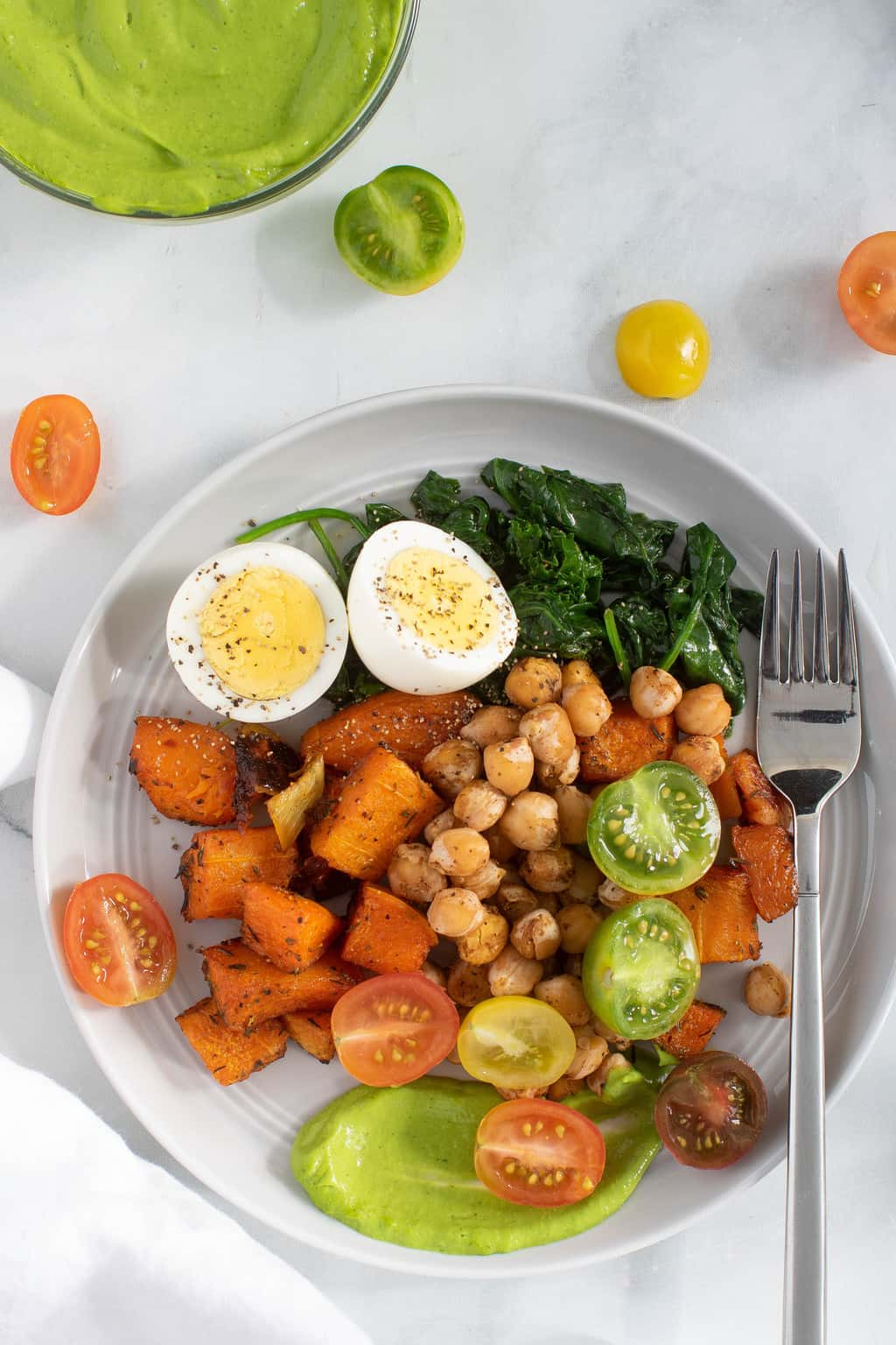 Savory Chickpea Veggie Breakfast Salad