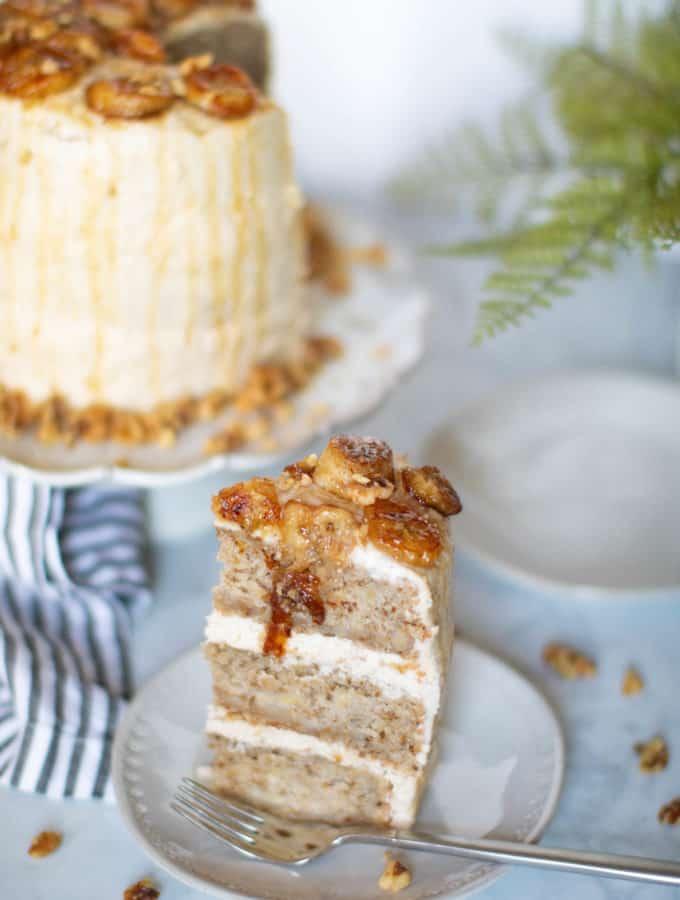 Vegan Banana Cake + Cinnamon Browned Butter Buttercream