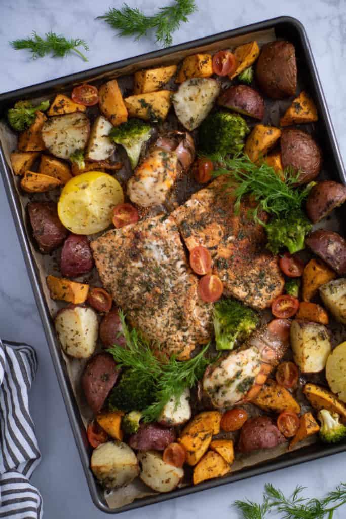Sheet Pan Garlic Herb Salmon, Lobster, + Veggies