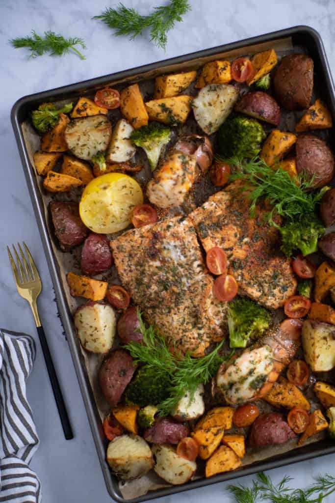 Sheet Pan Garlic Herb Salmon, Lobster, + Veggies