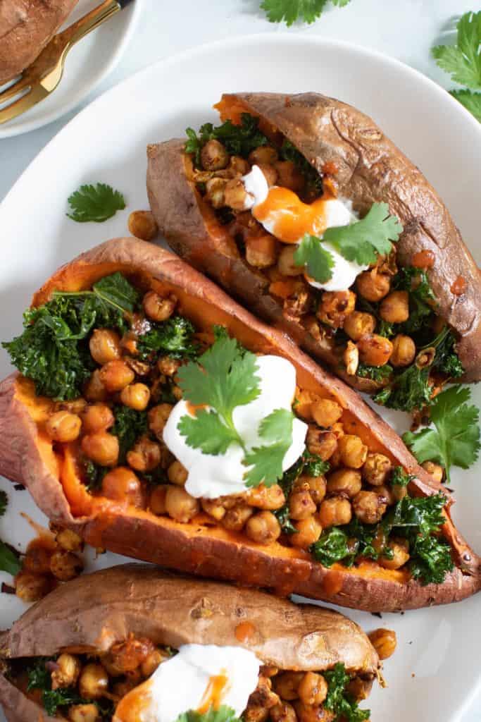 Healthy Vegan Stuffed Sweet Potatoes