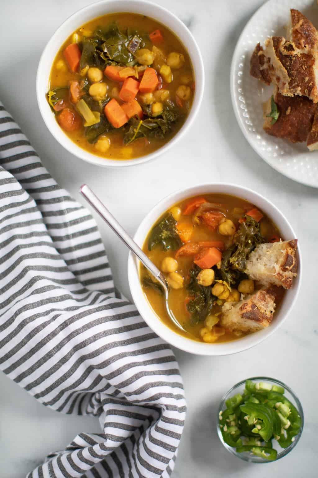 Vegan Tuscan Kale Chickpea Soup