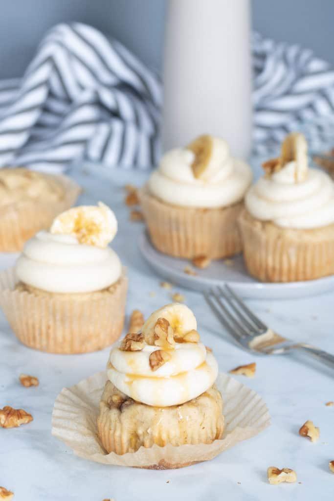 The Best Banana Cupcakes + Maple Buttercream