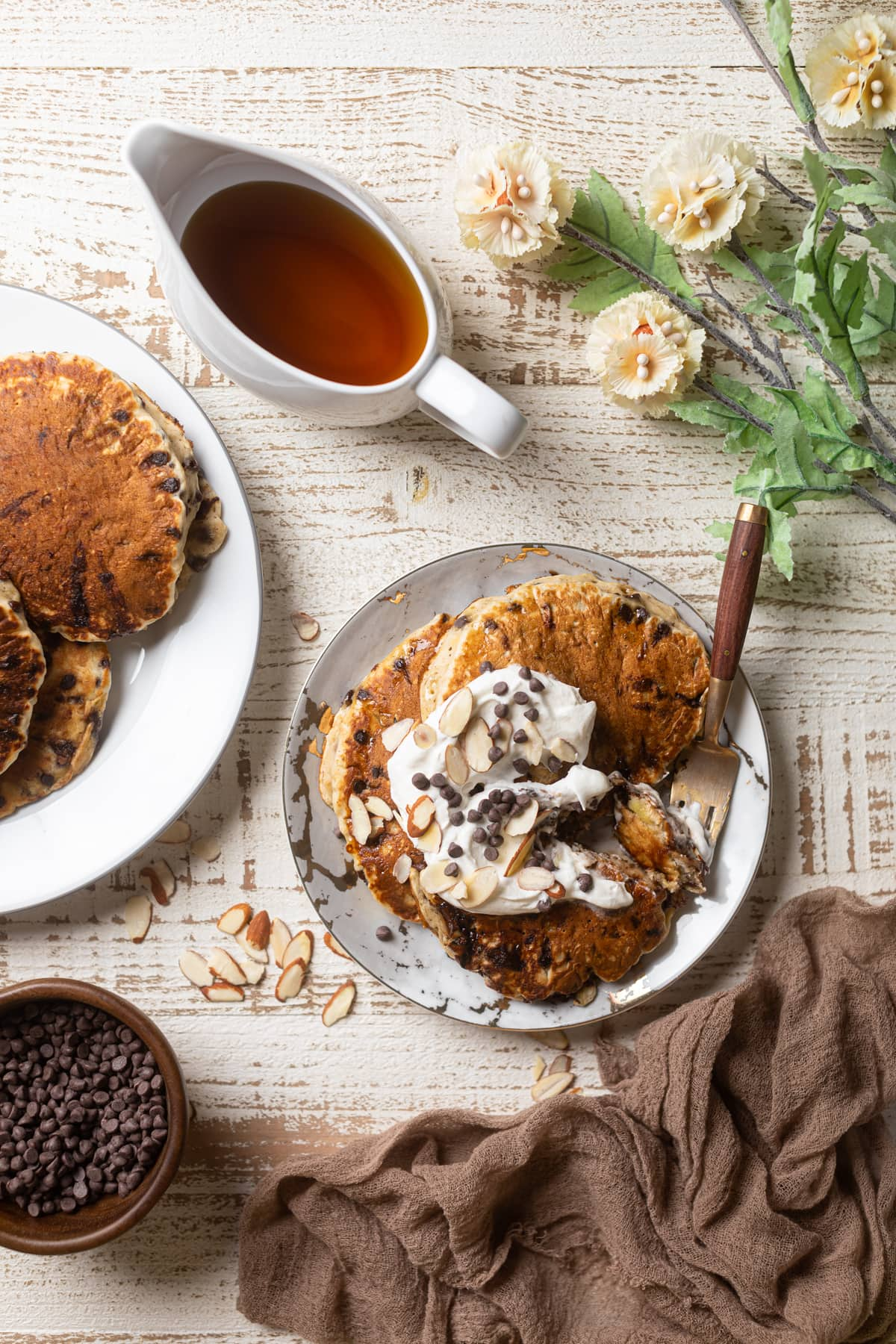 Fluffy Vegan Banana Chocolate Chip Pancakes