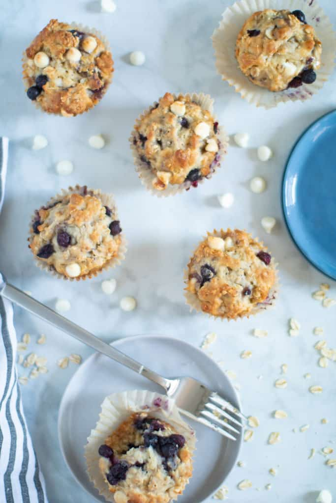 Healthy Blueberry Oatmeal White Chocolate Muffins