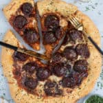 Texas BBQ Sriracha Meatball Pizza