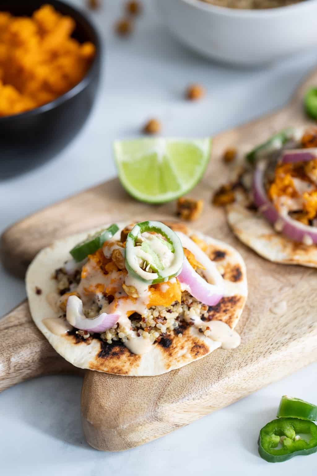 Roasted Chickpea Quinoa Sweet Potato Chipotle Ranch Tacos
