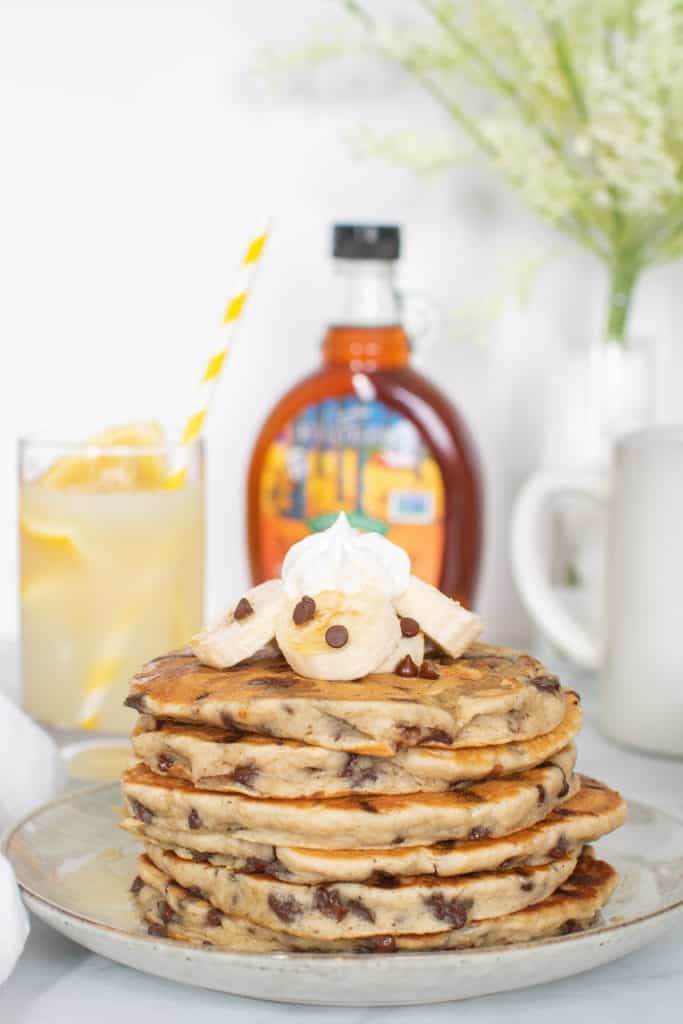 Fluffy Vegan Banana Chocolate Chip Pancakes