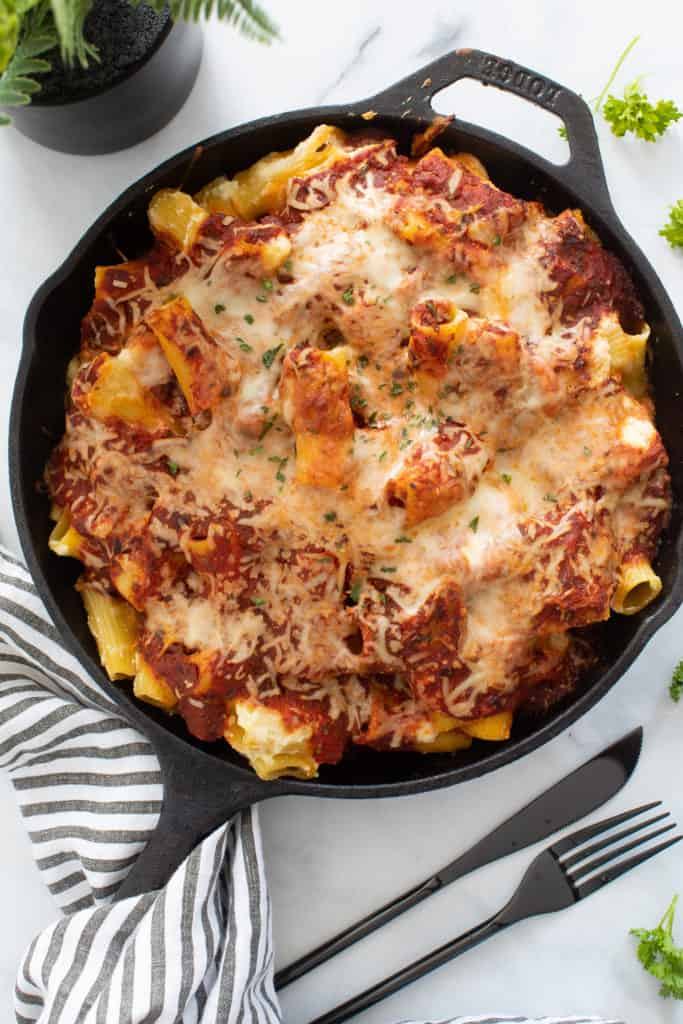 Meatless Baked Ziti with Ricotta + Mozzarella