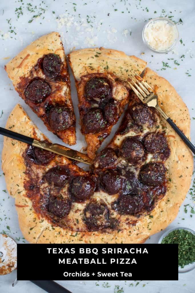 Texas BBQ Sriracha Meatball Pizza