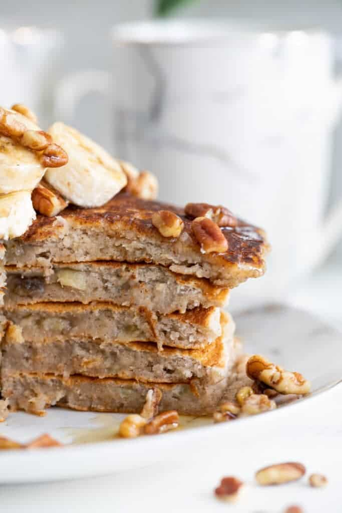 Healthy Vegan Banana Bread Pancakes