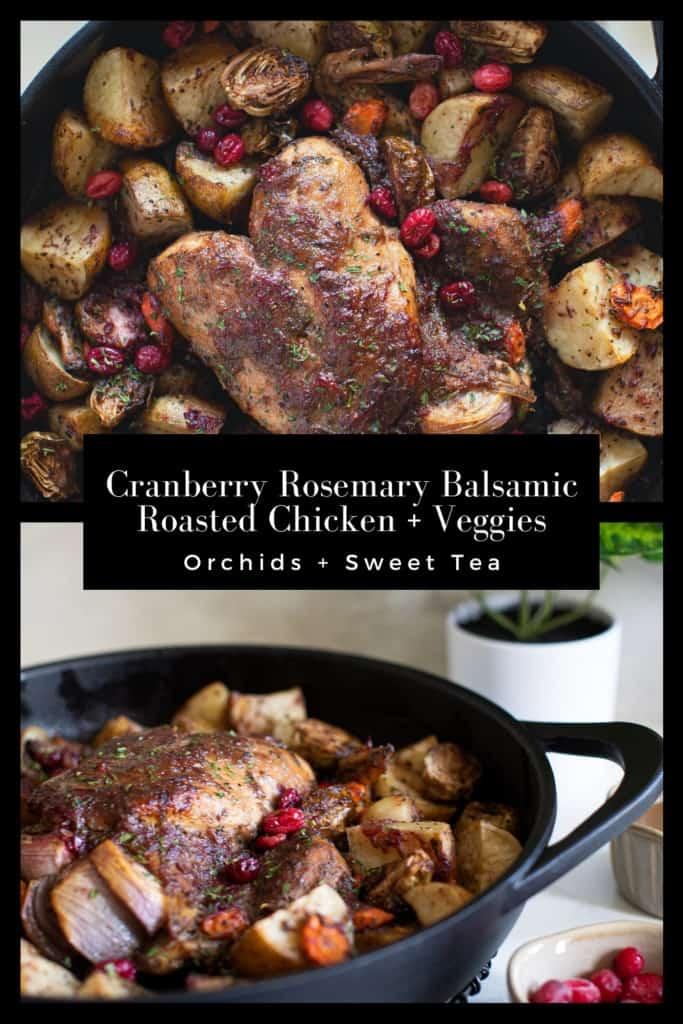 Cranberry Rosemary Balsamic Roasted Chicken + Veggies