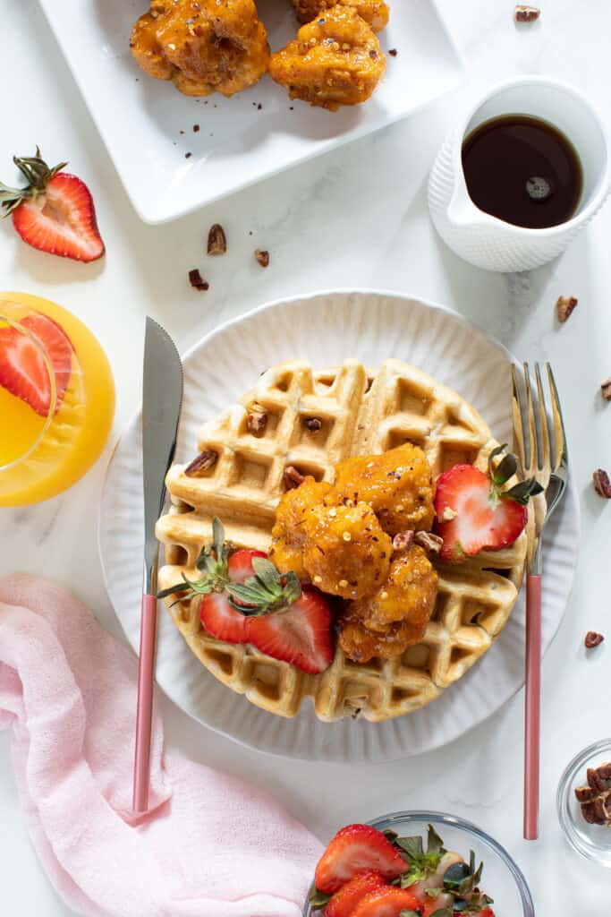 Sweet + Spicy Cauliflower Bites + Maple Pecan Waffles