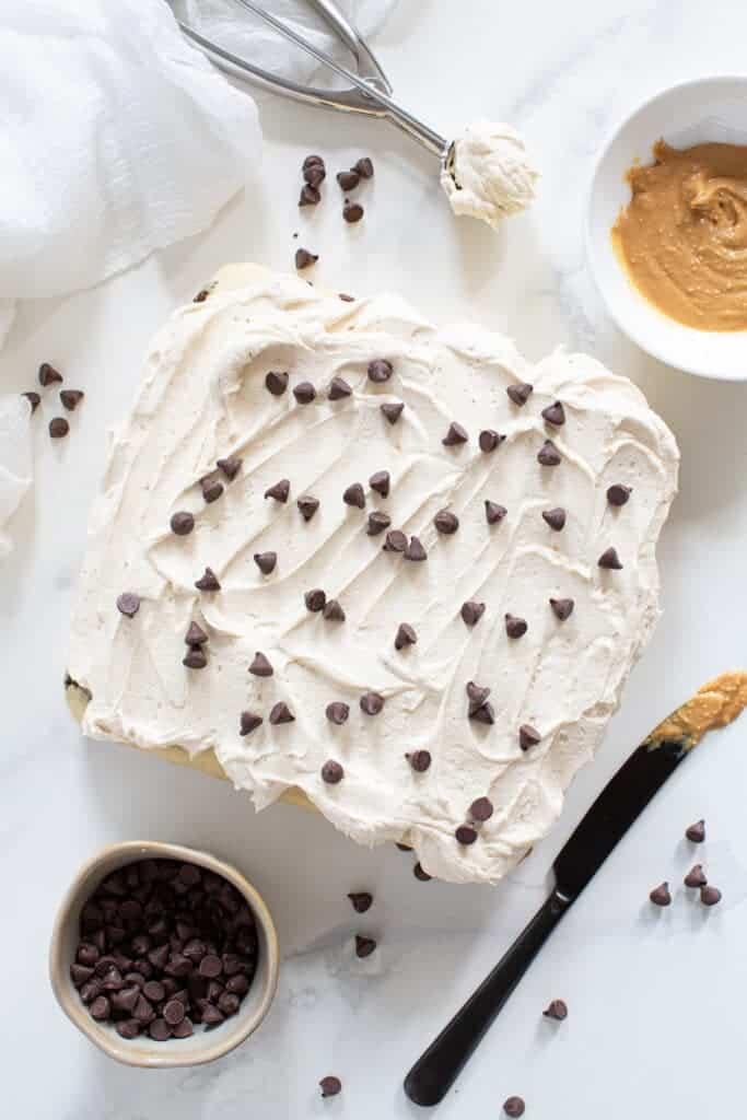 Vegan Peanut Butter Chocolate Chip Sheet Cake