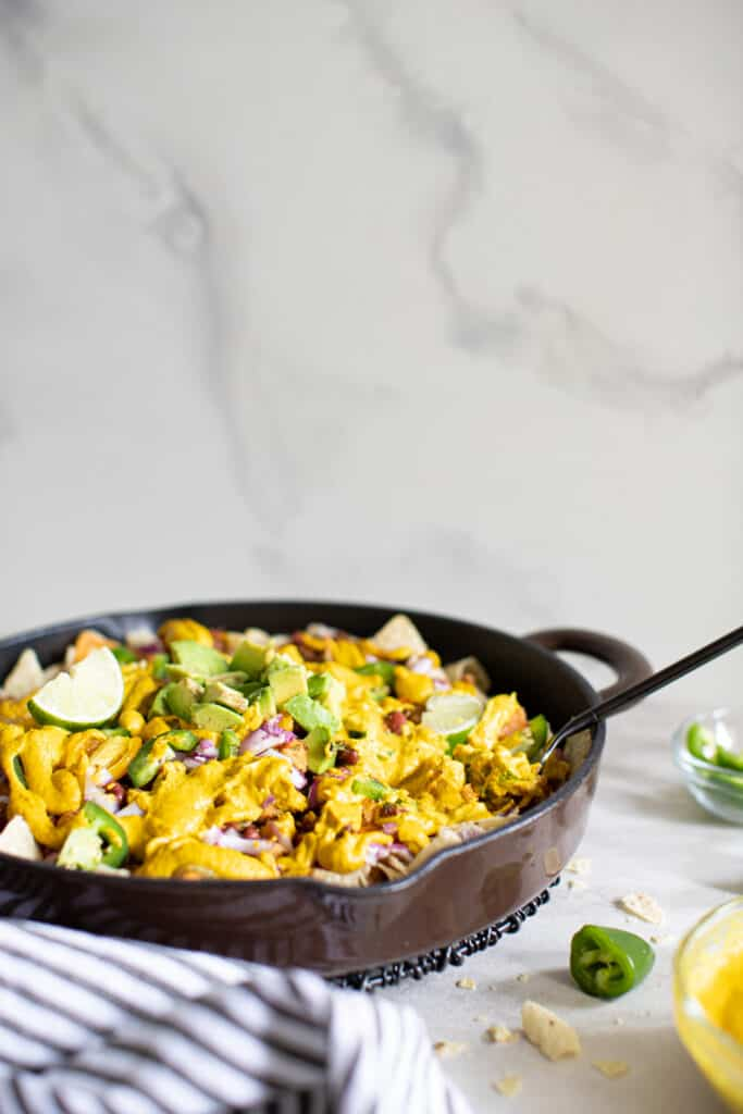 Loaded Vegan Queso Skillet Nachos