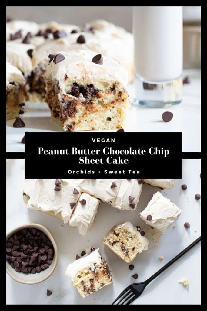 Vegan Peanut Butter Chocolate Chip Sheet Cake
