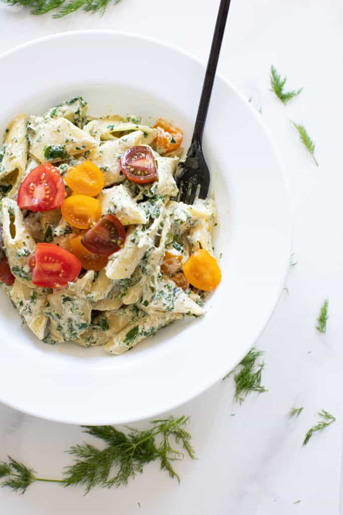 One Pot Creamy Vegan Tuscan Kale Pasta