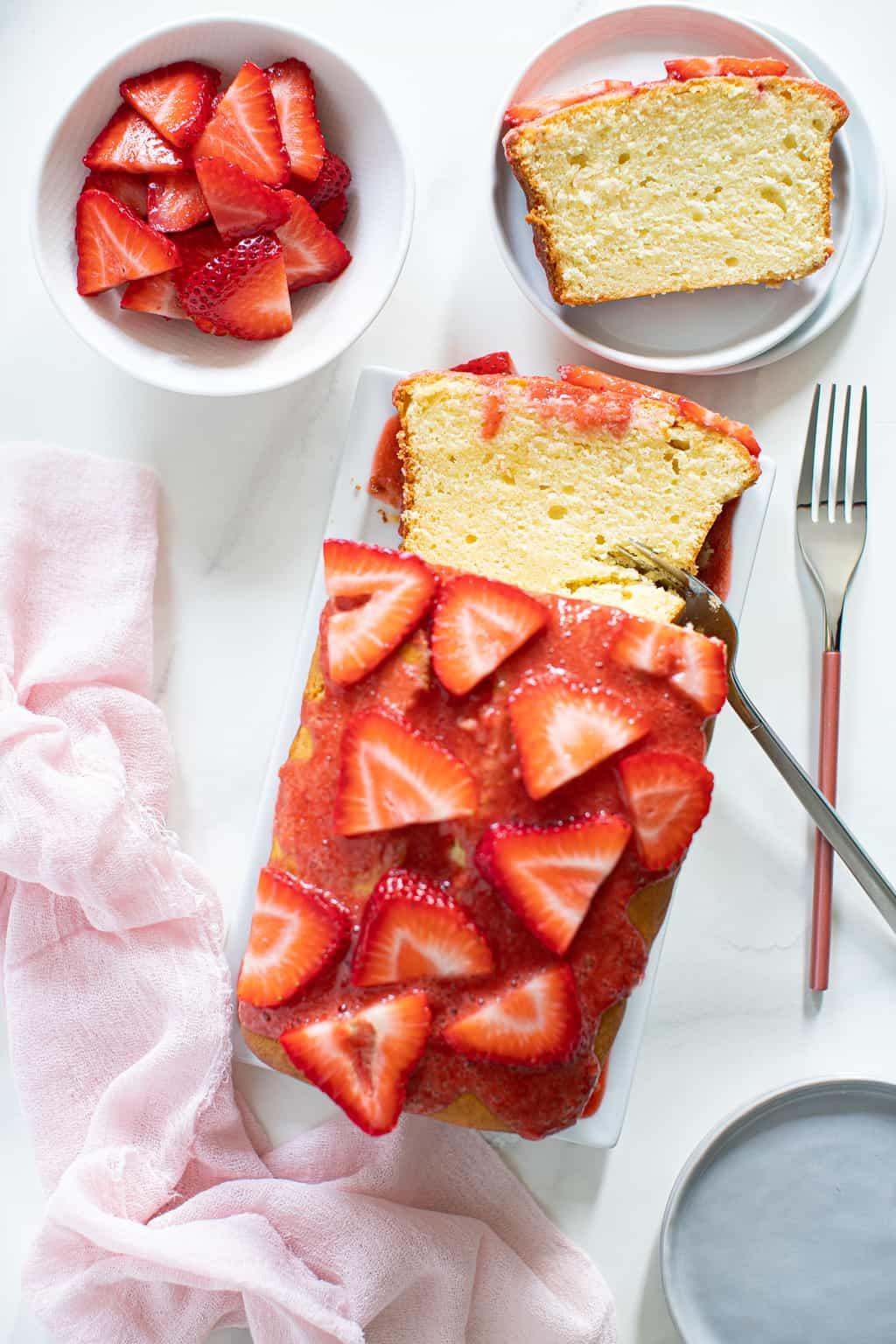 Cream Cheese Pound Cake + Strawberry Glaze