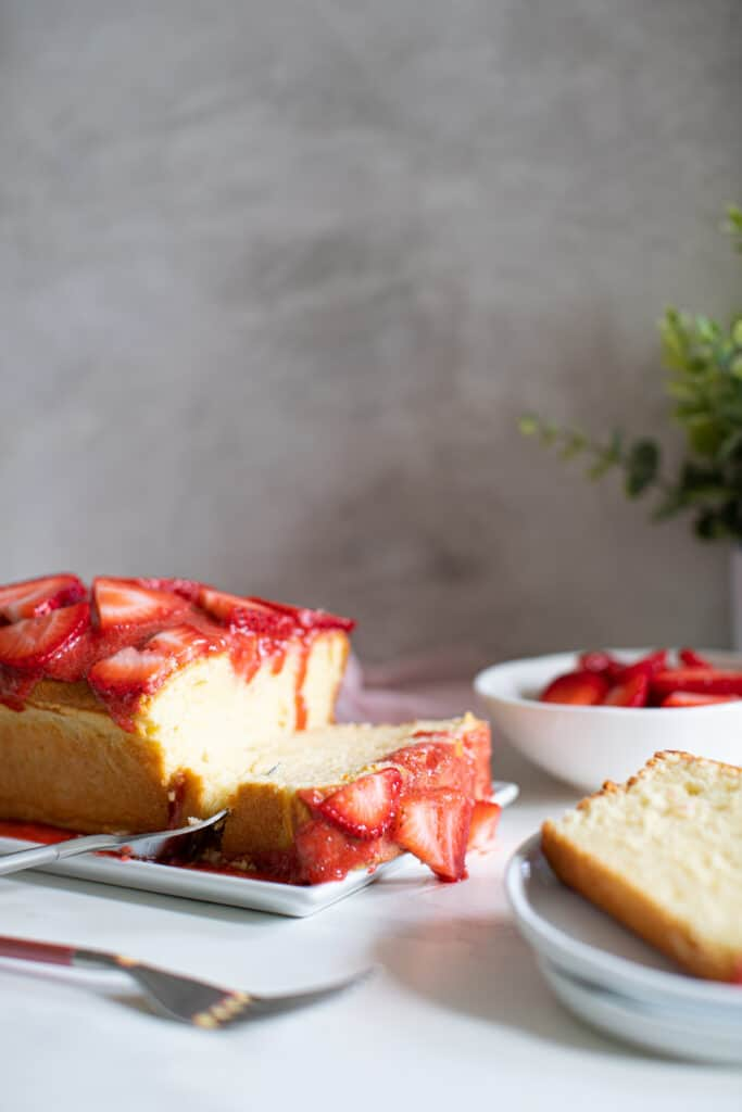 Cream Cheese Pound Cake + Strawberry Glaze