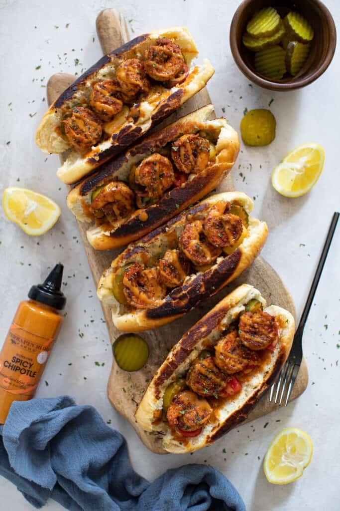 The Best Easy Blackened Shrimp Po' Boy