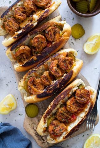 The Best Easy Blackened Shrimp Po' Boy