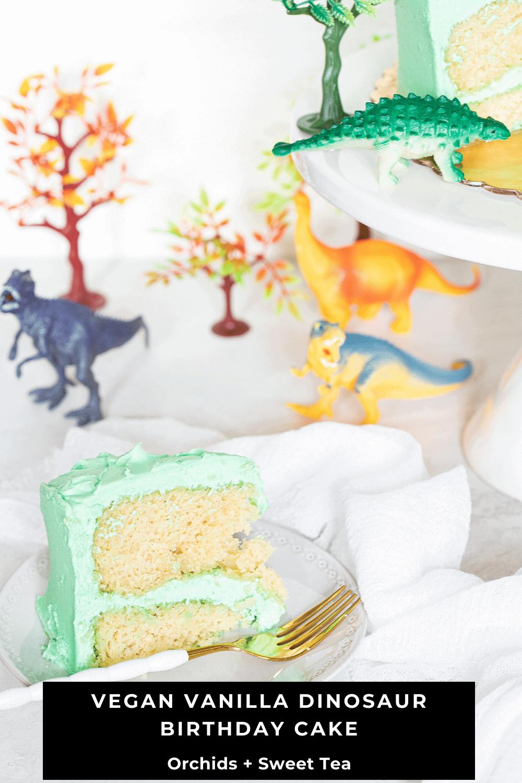Vegan Vanilla Dinosaur Birthday Cake
