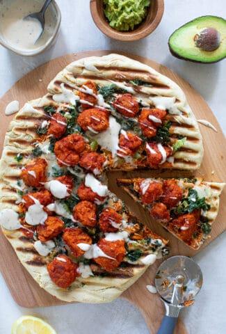 Buffalo Cauliflower Kale Grilled Pizza