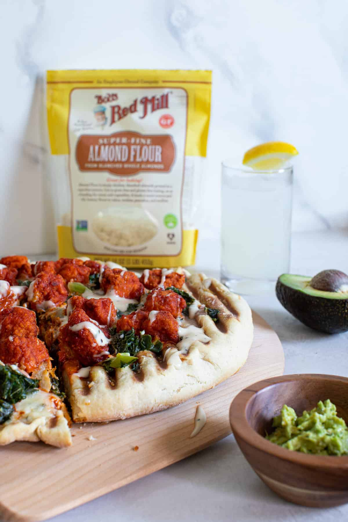 Buffalo Cauliflower Kale Grilled Pizza